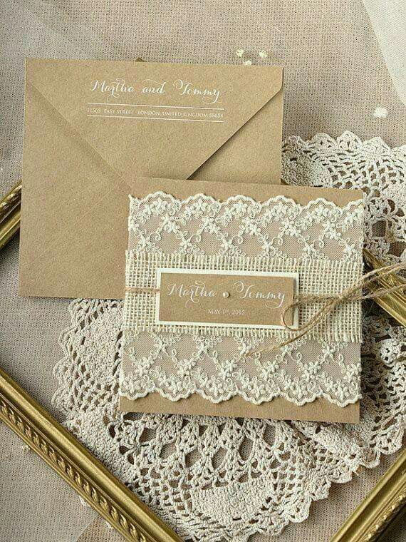 Wedding Invitation Burlap and lace