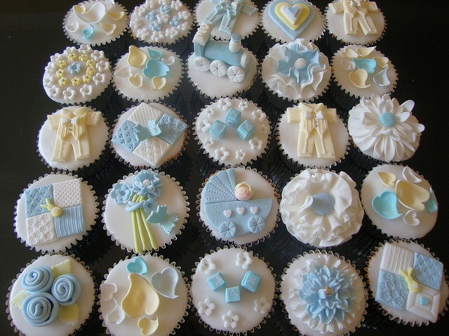 Baby boy christening-    Fondant iced vanilla cupcake.