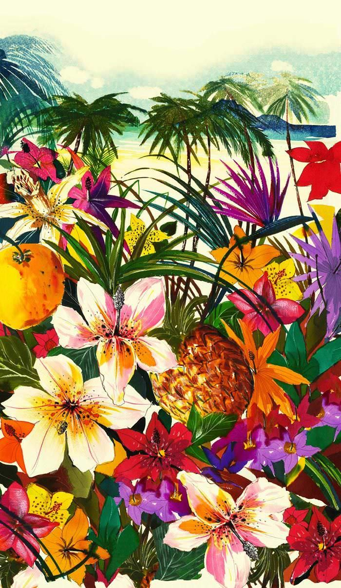 Some piece of summer and jungles for you) I love that bright big flowers, birds and colors. Cool to use as a wallpaper for your phones. Plus some nice examples of floral and tropical pattern on walls, furniture and clothes. Enjoy the summer!