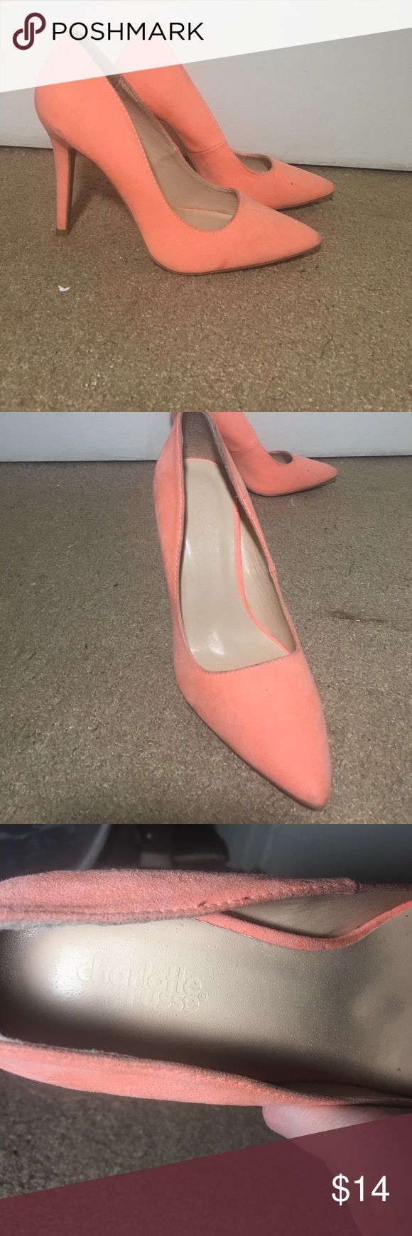Peach heels Gorgeous peach heels! Only worn once, bought them brand new from Charlotte Russe! They were a little dirty when I bought them from the store but looked ok to me!! Size 7. Open to offers! Charlotte Russe Shoes Heels
