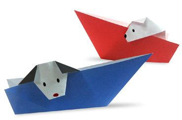 Origami A Dog that takes boat