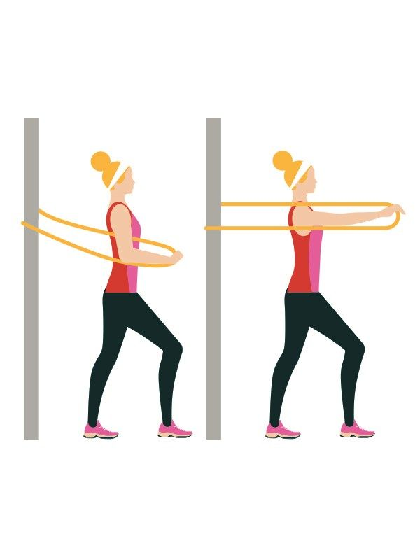 One-arm presses with resistance band: 4 sets of 20   Advanced workout routine -  Secure your resistance band to a fixed anchor point. Take an end in one hand. Keep your arm bent, palm facing the floor. Push your arm forwards until straight. Return to starting position. Alternate arms. Click to read the full workout on You & Your Wedding's website.