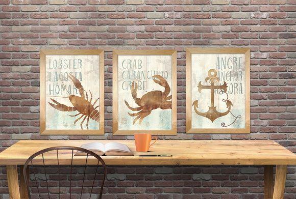 Trio com 3 gravuras 30x40 cm cada!  Tema nautico, ideal para decoração em casa de praia, restaurantes e hoteis!  Impressão fine arte, de altíssima qualidade,  Papel canson photo matte paper 180 gsm    * NÃO INCLUI A MOLDURA**  ** peça assinada pela artista**