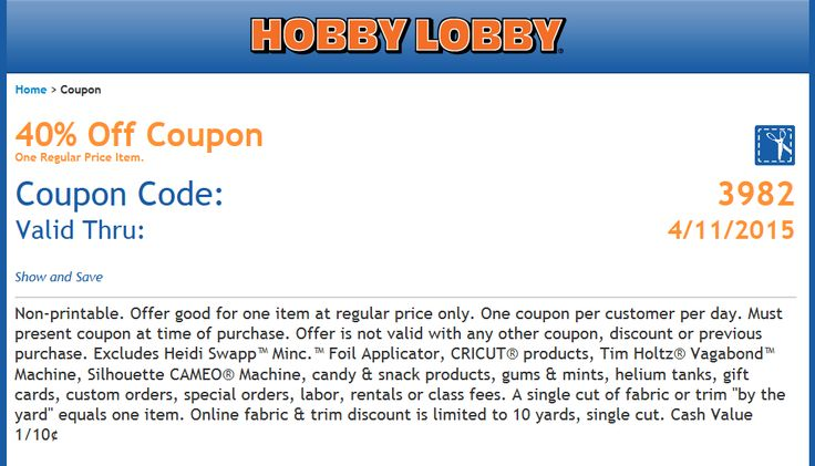 Pinned April 8th: 40% off a single item at Hobby #Lobby or online via promo code 3982 #coupon via The #Coupons App