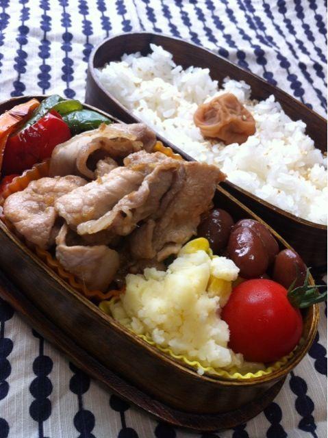 豚ロースの生姜焼き ポテトサラダ カラーピーマンのごま油炒め 金時豆 ごまごはん 紀州梅 - 10件のもぐもぐ - 豚ロースの生姜焼き弁当 by koyata56
