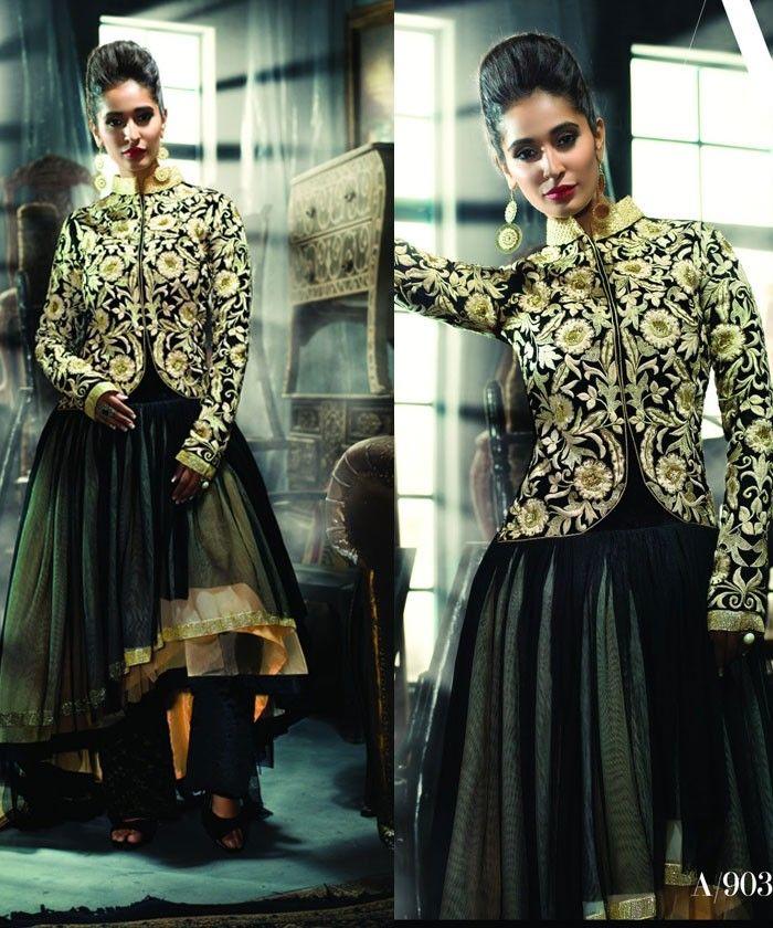 Dashing Green Designer Suit with Velvet