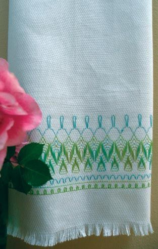 Nordic Needle - patterns and books of all kinds of needlework  Tropical Seas Embroidery Towel Kit (Swedish/huck weaving)