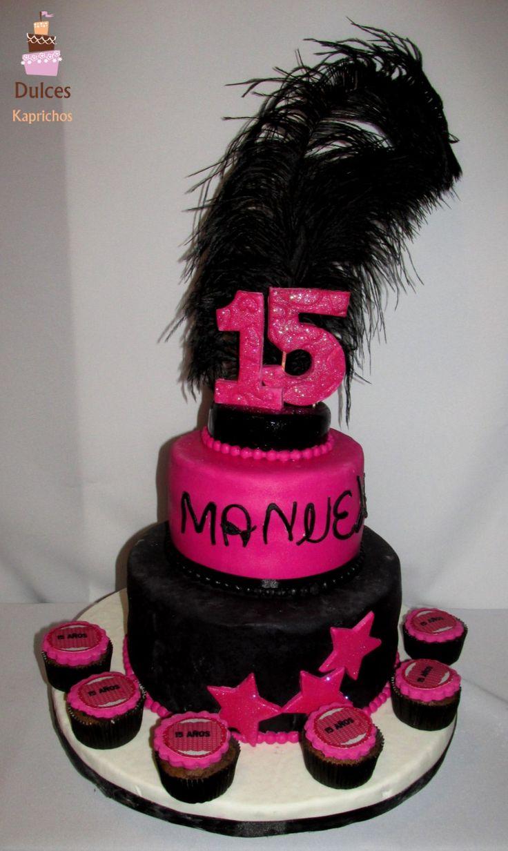 Torta Cumpleaños 15 Años para Manuela #TortaCumpleaños15Años #TortasDecoradas #DulcesKaprichos