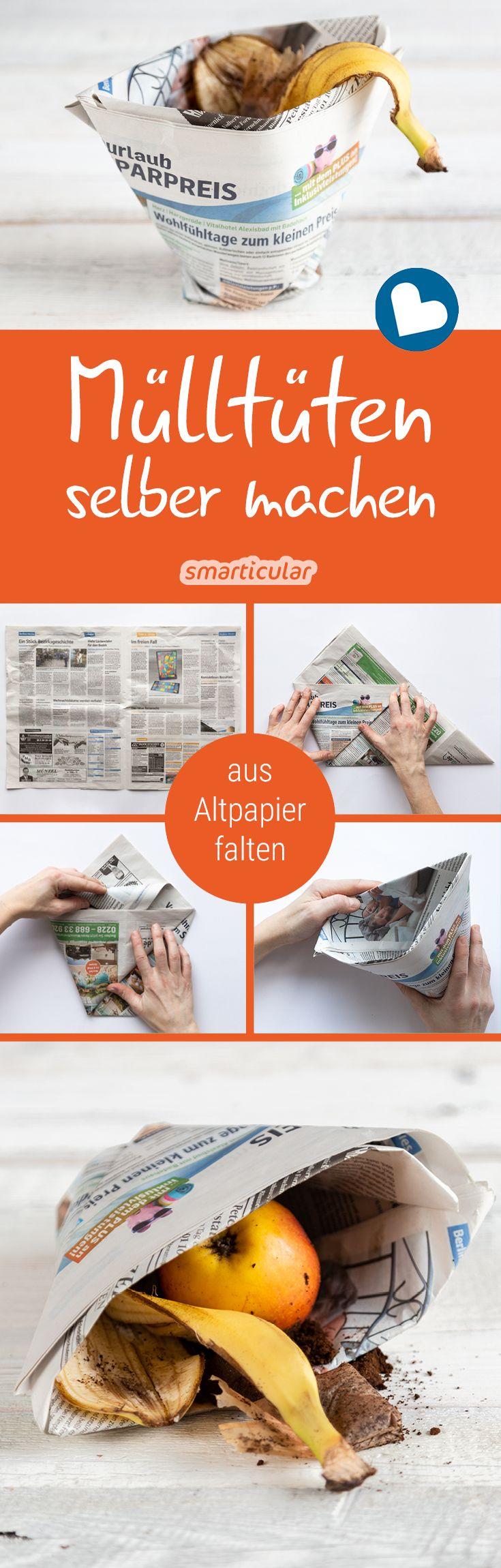 Mülltüten und Einkaufstüten ohne Kleben aus Zeitungspapier falten – mit Video