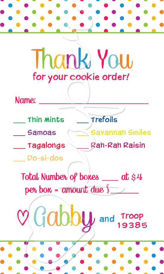 ONE GIRL  Girl Scout Cookie Order Receipt Thank You by HartPaper