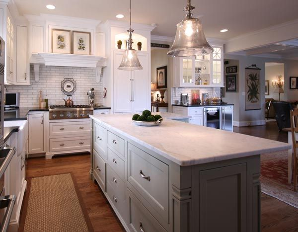 Best Kitchen Island With Light Gray Cabinets And A White Marble 400 x 300