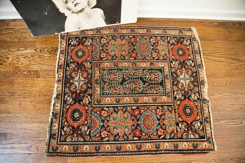 Perfect colors square antique Persian Rug with dark blue field and wide border.  A little gem!
