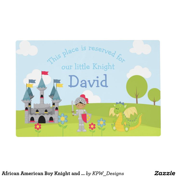 African American Boy Knight and Dragon Placemat