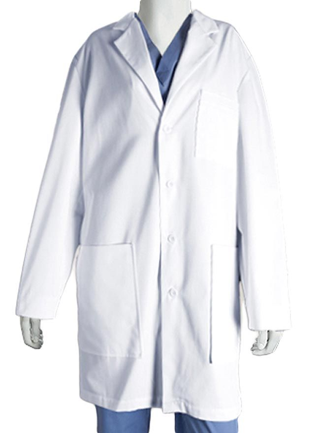 Style Code: (BA-0912)  Get the look of being professional and efficient at the same time. Barco lab coat for men is as functional and purposeful as you for it has six pockets, two tablet compartment, inside pockets and a chest pocket. It has sewn down back band and its center back length is measuring 37 inches. Built with polyester and cotton.