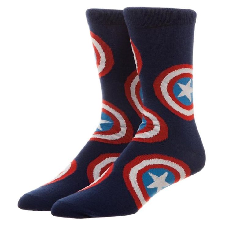 Captain America Large Multi-Shield Design Adult Size Crew Socks #BW #Crew