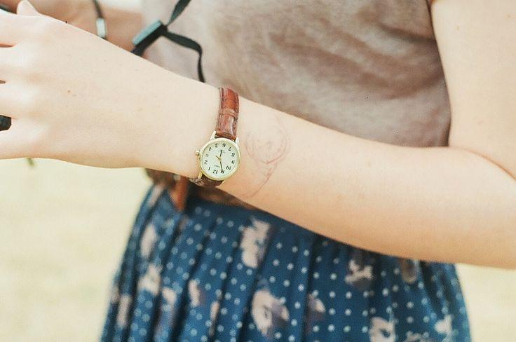 pleated skirt, vintage watch