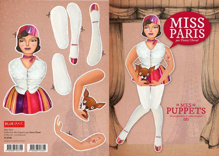 Carte à découper - Mes Puppetts Miss Paris - par Fanny Cheval