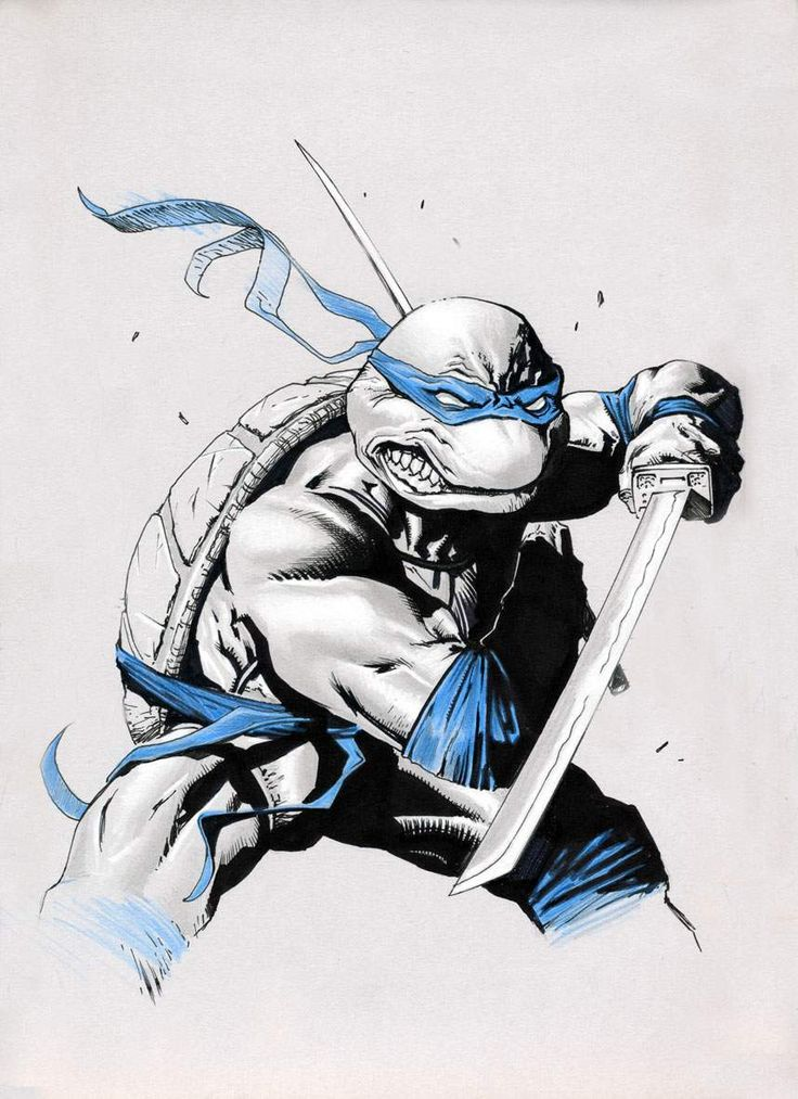Teenage Mutant Ninja Turtles (TMNT) Leonardo By Gabriele Dell'Otto #Comics #Illustration #Drawing