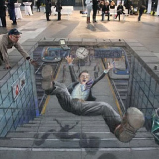 This is entirely made out of sidewalk chalk.