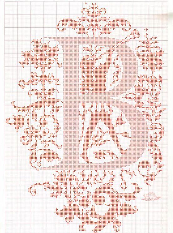 "cross stitch alphabet in 2 colors- very ornate monogram 26 single letters -- ""B'"" #2"