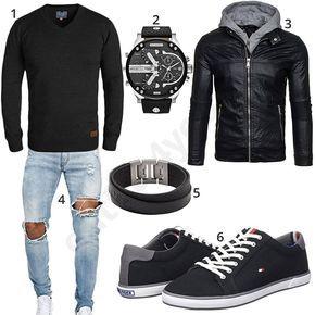 Cooler Herren-Style mit schwarzem Blend Pullover, hellblauer EightyFive Jeans, schwarzer Bolf Lederjacke, Diesel Armbanduhr, Fossil Armband und schwarzen Tommy Hilfiger Sneakern. #outfit #style #fashion #ootd #männer #herren #outfit2017 #outfit #style #fashion #menswear #mensfashion #inspiration #shirt #cloth #clothing #styling #sneaker #menstyle #inspiration