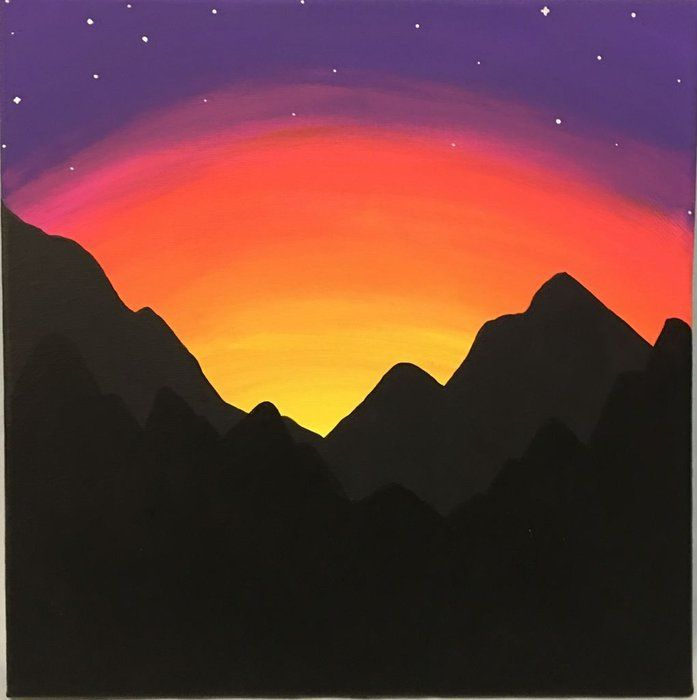 Paint A Mountain Sunset For Beginners Sunset Painting Easy Sunset Painting Drawing Sunset