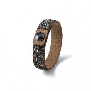 Oliver Weber Women beige small disco bracelet glitter alcantara with Swarovski Crystals