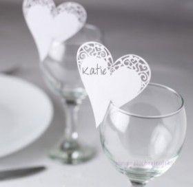 Tischkarten Hochzeit Herz mit Spitze weiß – Platzkarte für Glas 10 Stück