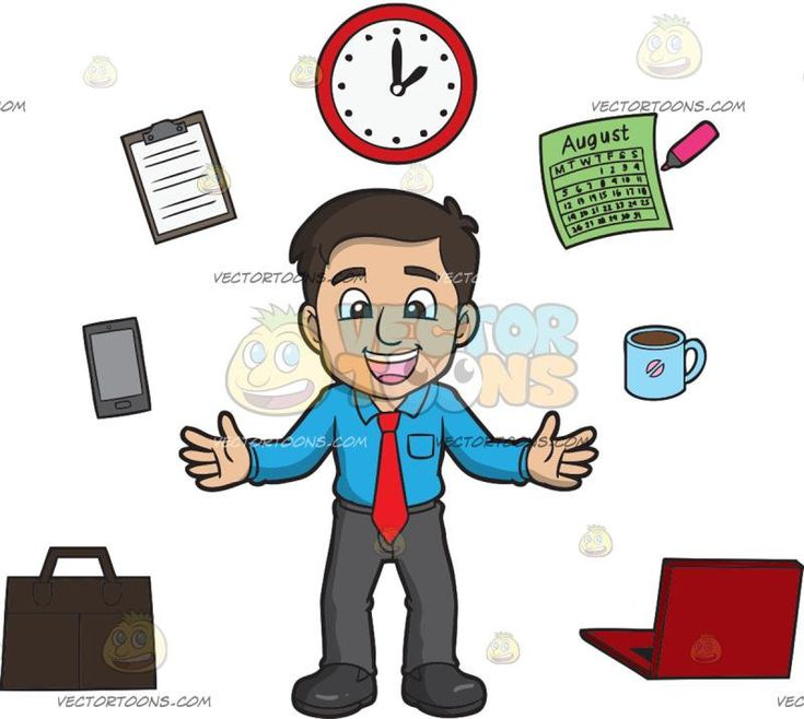 A Happy Man Managing His Work Time Well:   A man with dark hair wearing a blue dress shirt red necktie gray pants black shoes parts his lips to smile in delight as different office necessities such as a briefcase cellphone clipboard clock calendar coffee mug and a laptop float around him