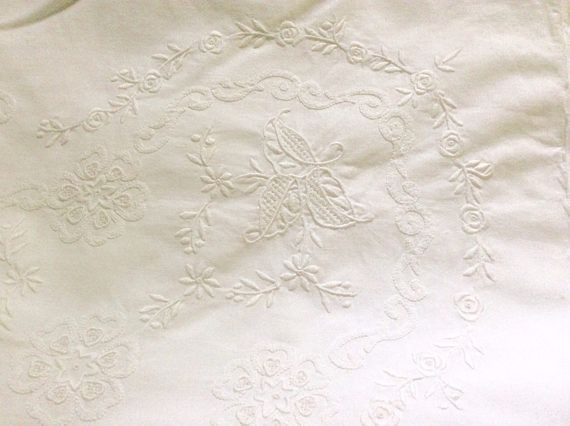 Large Oblong Tablecloth White Tone on Tone Embroidery with