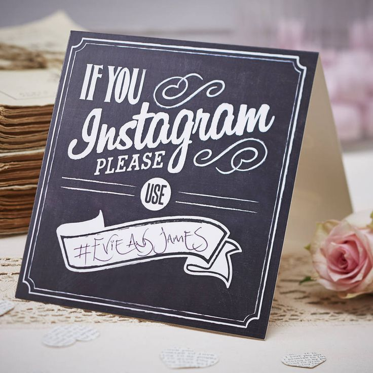 A fun chalkboard 'If You Instagram' sign, perfect for any occassion including weddings or parties!Make sure you capture all of the big day wedding photos online with the 'If you instagram' signs. These signs have space to write your wedding day #; on to ensure your guests use the same one! These can be placed on wedding tables, at the bar, on the candy bar or just about anywhere around the wedding and reception venue! Pack contains 5 signs, 13cm H when folded. Card. 13cm H when folded.