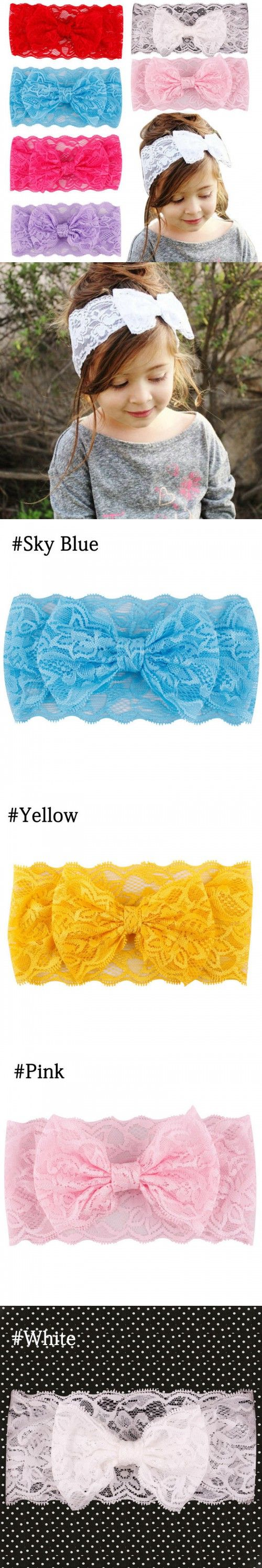 Random Color 7PCS Kids Girl Baby Headband Toddler Lace Bow Flower Hair Band Accessories $3.38