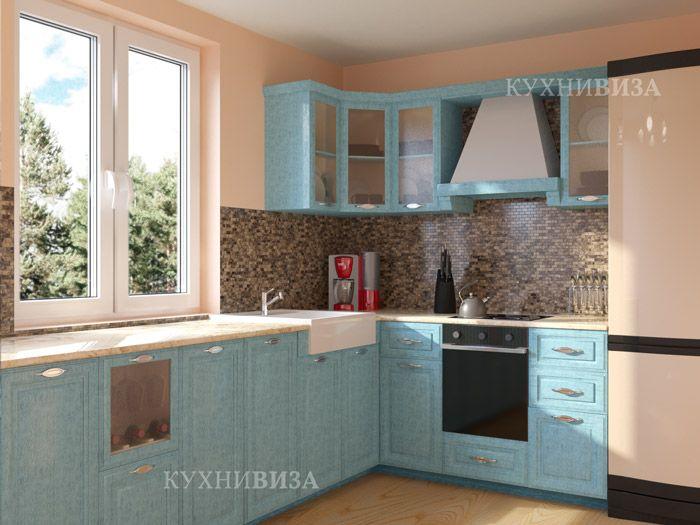 Голубая кухня в стиле прованс. Blue kitchen cabinet province style.