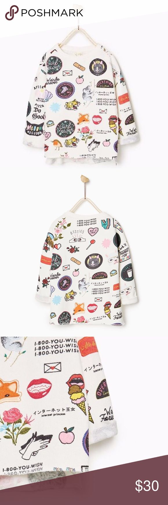Printed Sweatshirt Zara Girls The funkiest little number! Japanese, koalas, tigers, foxes, lips, charades and more! Round neck sweatshirt with long turn-up sleeves. Side slits at the hem. Zara Shirts & Tops Sweatshirts & Hoodies