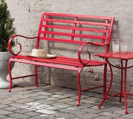 Red Metal Garden Bench Coastal Living Pinterest