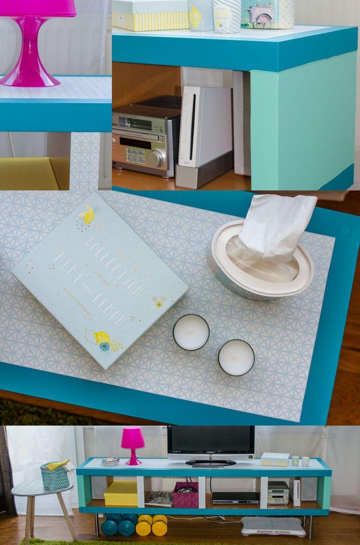 Elegant DIY IKEA Hack Sideboard im Vintage Style aus LACK Regal mit M belfolie Einfach mit Folie statt