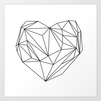 Heart Graphic (black on white) Art Print by Mareike Böhmer Graphics - $20.00