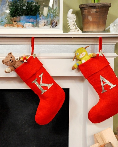 Glittered monogram stocking instructional. To personalize our stockings