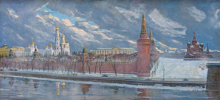 1986 Глазунов Илья Сергеевич (Россия, 1930) «Рассвет над древним Кремлем»