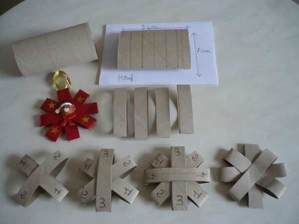 fabriquer deco de noel à suspendre avec roulette papier toilette