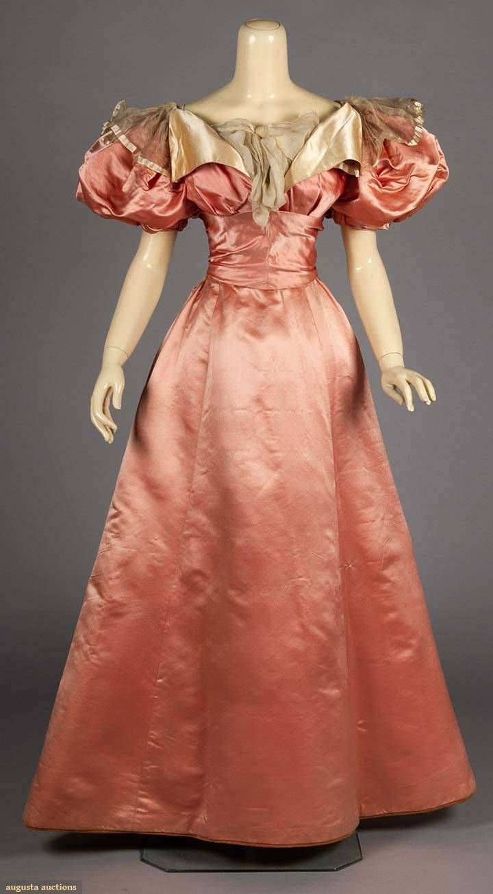 Fashions From The Past Historicaldress Pink Silk Evening Gown 1897 Vintage Evening Gowns Fashion Vintage Dresses [ 1306 x 720 Pixel ]