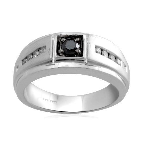 Men's Sterling Silver Black and White Diamond Ring (1/2 cttw, I-J Color, I3 Clarity) Amazon Curated Collection. $165.00. Black diamonds may have been treated to improve their appearance or durability.. The total diamond carat weight listed is approximate. Variances may be up to .05 carats.. Made in India. All our diamond suppliers certify that to their best knowledge their diamonds are not conflict diamonds.