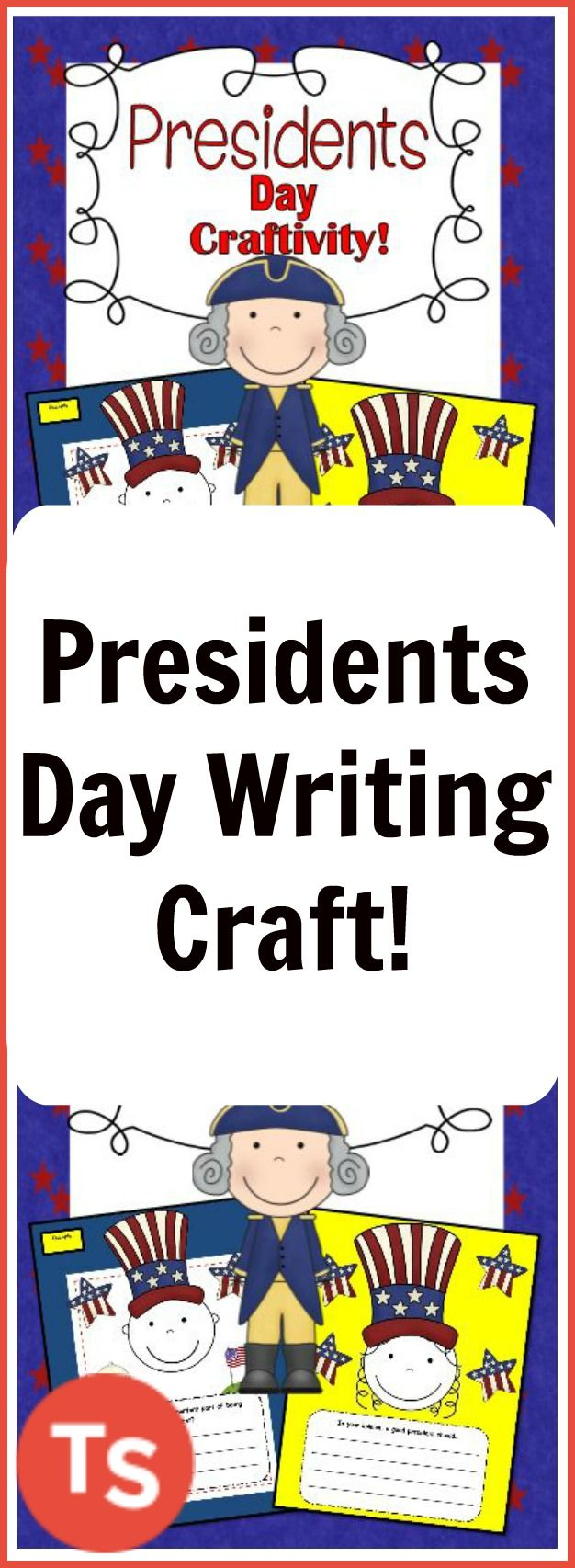 Have your students choose between two open ended writing prompts that can be glued to the template page or to a piece of construction paper along with the face of a boy or girl and their patriotic hat! #presidentsday