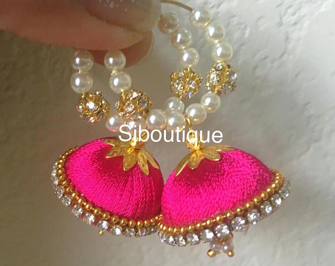 Hoop Jhumka Ear Rings # Silk thread Earrings