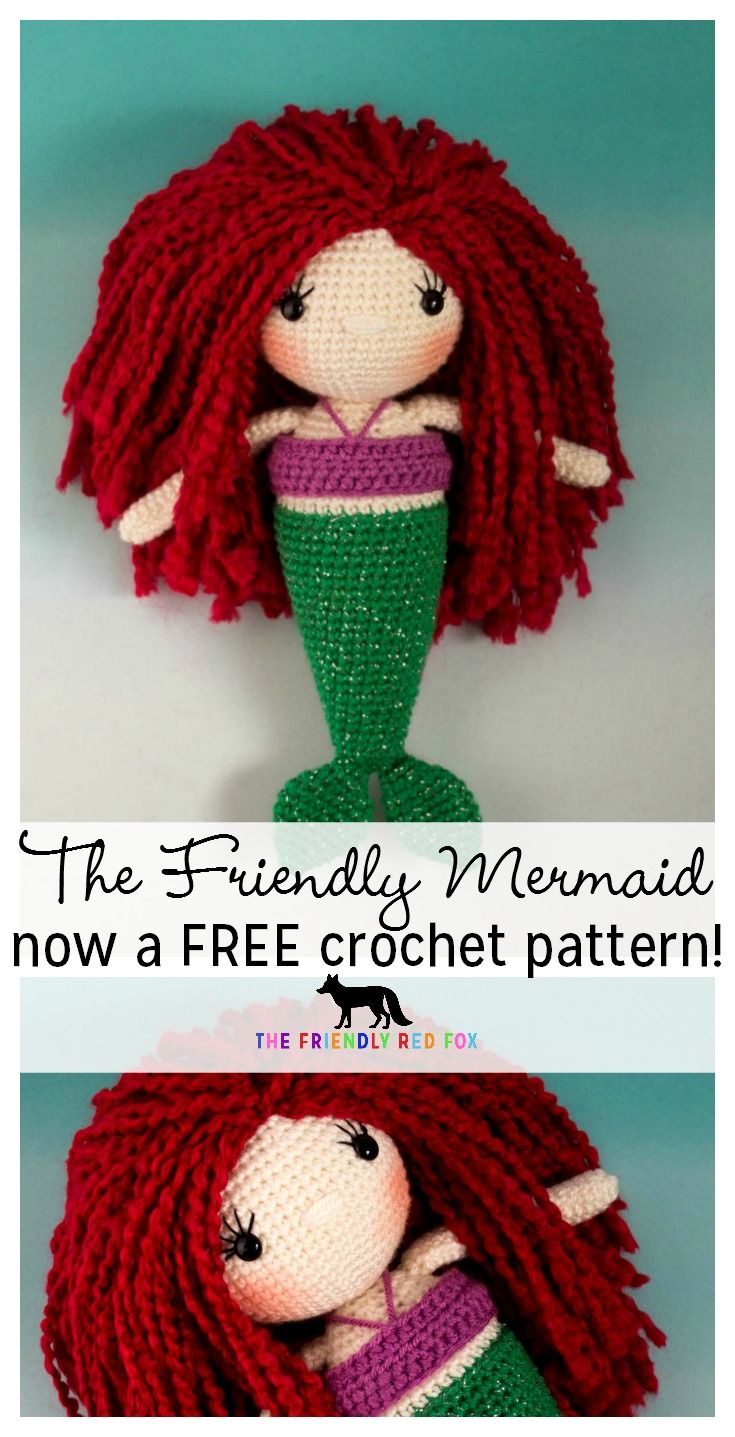 Free Mermaid Crochet doll pattern! Almost 12 inches tall with all the tips and tricks you need to know. Now with two fin options!