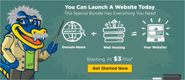 Start your blog today and save with a Hostgator bundle. Get your domain, web hosting and an optional security certificate for one low price.