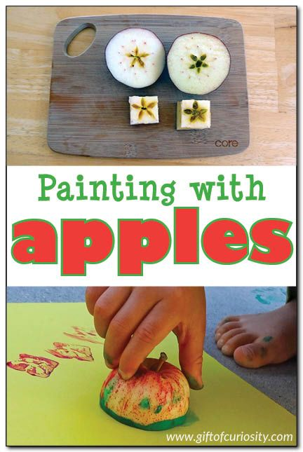 Painting with apples {apple art project for preschoolers}