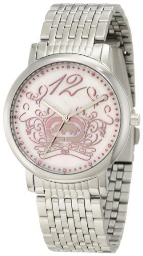 Rhino by Marc Ecko Women's E8M009MV Fashionable Color-Infused Watch Rhino by Marc Ecko. $60.00. Water-resistant to 100 M (330 feet). Silver stainless steel bracelet; adjustable bracelet with removable links. 3 hand analog. Feminine design on pink mother of pearl dial. Touch of color: pink hour/minute markings, rhino logo and edgy yet feminine scrollwork design. Save 25%!