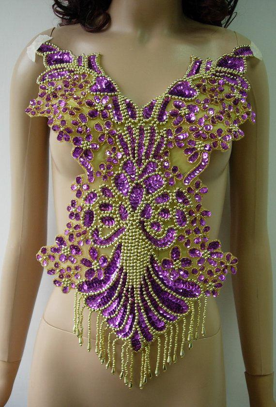 BD08-5 mooie Bodice Sequin kraal stoffen Fringe paars door Angeltrim