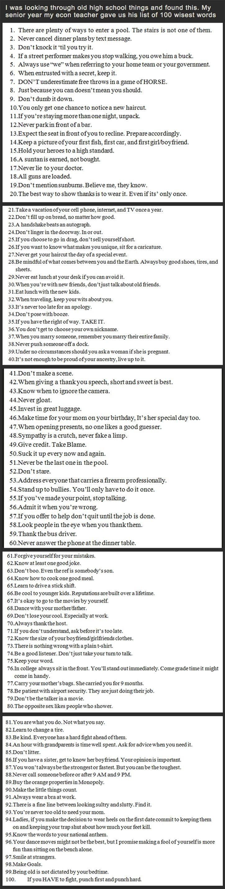 100 wise words for a teacher for students to make good choices in life.  Definitely worth a read. Puts things into perspective.